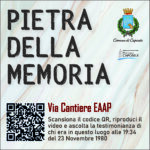 Pietra della Memoria Caposele - Via Cantiere EAAP -