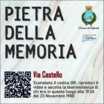 Pietra della Memoria Caposele - Via Castello -